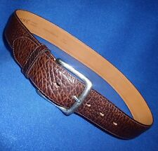 "ITALIAN MADE 30"" BANANA REPUBLIC BROWN  LEATHER MENS BELT ANTIQUE SILVER BUCKLE"