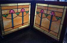 """Beautiful Pair of Stained Leaded Glass Windows from Chicago 2 flower 28"""" by 25"""""""