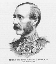 HENRY DALRYMPLE WHITE British Army General - Antique Print 1886