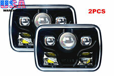 """2x Cree LED Projector Headlights 7x6"""" Sealed Beam Headlights Black DOT Approved"""