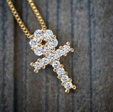 18k Gold Mini Micro Egyptian Ankh Cross Pendant Charm Necklace Iced Out