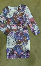 H&M watercolor print long sleeve dress sz4 preowned excellent cond free post D22