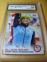 ALLISON BAVER SHORT TRACK SPEEDSKATING 2014 TOPPS US OLYMPICS # 6 GRADED 10 L@@K