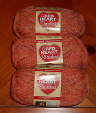 Red Heart Stardust Yarn Lot Of 3 Skeins (Orange #1252)