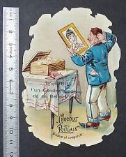 CHROMO CHOCOLAT POULAIN 1890-1910 1er AVRL CADEAU DE BELLE-MERE A GENDRE