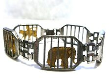 RARE COLLECTOR AMICO STERLING SILVER CARNIVAL ANIMAL TROLLY TRAIN BRACELET 7.25""