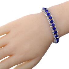 Gold Silver Plated Colorful Gemstone Crystal Rhinestone Chain Bracelet Bangle