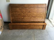 Pottery Barn Ashby Sleigh Bed Frame Headboard Footboard Wood FULL Rustic Pine