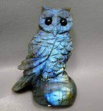 Owl Labradorite Animal Gemstone Carving 3.25 inch Figurine Rock #1