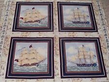 4 Tall Ships Pillow Panels Fabric Ancient Mariners Nautical 100% Cotton