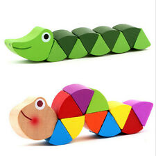 New Wooden Crocodile Caterpillars Toys Baby Kids Educational Colours Gift AUJC