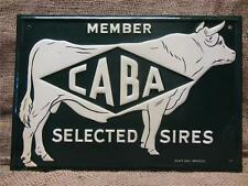 Vintage Embossed Metal CABA Sires Cow Sign   Antique Farm Cattle Scioto Co 9222