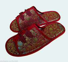 Fashion CHINESE HANDMADE silk satin Women's/ MenS Shoes Slippers Size 9
