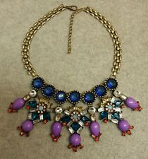 Bib Statement Necklace Acrylic Blue Red Lilac & Clear Simulated Rhinestones