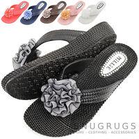 Ladies / Womens Summer / Holiday / Beach Millie Flower Sandals / Flip Flops