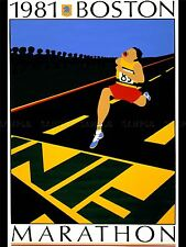 ADVERTISING SPORT BOSTON MARATHON 1981 RACE RUN FINISH LINE POSTER PRINT LV1146