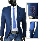 Stylish Mens Blazer Jacket Navy Blue Inserts Patches Casual Formal Slim Fit SALE