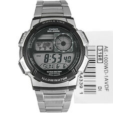 New Casio AE-1000WD-1AV Multi Time Stopwatch World Time LED Black Resin Watch
