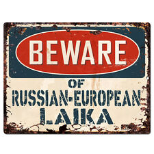 PPDG0104 Beware of RUSSIAN EUROPEAN LAIKA Plate Rustic TIN Chic Sign Decor Gift