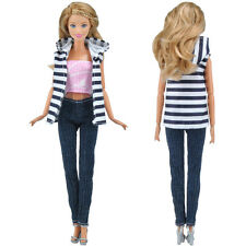 E-TING Fashion Print Blouse Jeans Trousers Clothes Accessories For Barbie Doll S