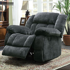 Grey Microfiber Oversized Glider Recliner Lazy Chair Reclining Rocking Gray Boy