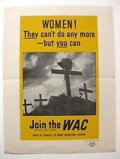 1943 WWII Authentic WAC Woman Army Corps Recruting Poster