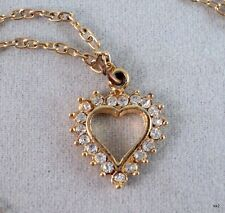 Vintage Sparkly Heart Pendant Set With Rhinestones on Delicate Chain - Estate