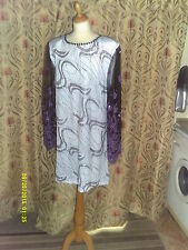 Drag Queen White/silver/lilac glitter SHORT dress with Black/lilac sleeve 20/22