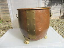 Antique Style Copper Coal Bin Log Basket Scuttle Brass Lion Feet Handles Rivets