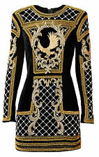 BNWT BALMAIN x H&M Black Gold Velvet Embroidered Beads Eagle Dress EUR 38 US 8