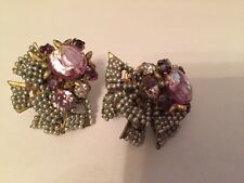 Vintage Miriam Haskell Clip Earrings ~ Signed   GORGEOUS!!!!!