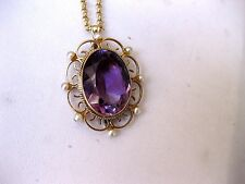 ANTIQUE VICTORIAN 14K YELLOW GOLD PENDANT with HUGE NATURAL AMETHYST&PEARLS,19c.