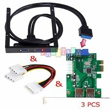 2 Port USB 3.0 PCI Express PCI-E Card Adapter+3.5 inch Front Panel Expansion Bay
