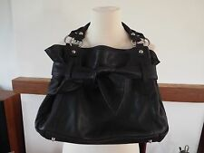 Lloyd Baker black leather tote bag with bow detail