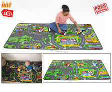 City Map Area Rug Car Play Road Driving Fun Kids Educational Learning Decor New