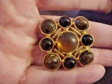 Vintage Monet Acrylic  Cabochon Gold Tone Maltese Cross Brooch Pin Signed Marble