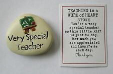 o Very Special teacher TEACHING IS A WORK OF HEART message stone token charm bts