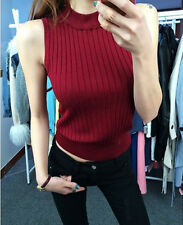Fashion Women Slim Polo Neck Top Stretch Sleeveless Turtle Neck Knit Vest Tank