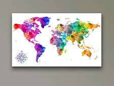 "World Map Modern Abstract Art Watercolour CANVAS PRINT 24""X 36"" White"
