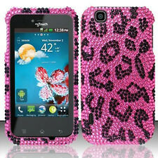 For T-Mobile LG myTouch Crystal BLING Hard Case Phone Cover Hot Pink Leopard