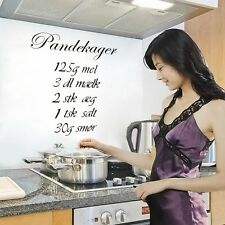 Removable Kitchen Decor Pandekager Decal Vinyl Wall Sticker Art Decal Quote Home