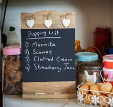 WOODEN CHALK BLACK BOARD WITH HEART MEMO NOTICE KITCHEN HANGING WALL CHIC SHABBY