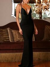 Black Deep Plunge Evening Maxi Dress with a Low Back One Size(UK8-10)
