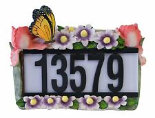 Green Garden Solar Panel Light Up Butterfly & Flowers Address House Number Plate
