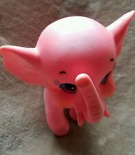 Vintage Plastic Squeaky Pink Elephant Toy Rubber Cute Made in Taiwan