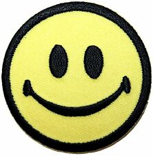 """2"""" Classic Yellow Smiley Smiling Happy Face Embroidered Iron On Applique Patch"""