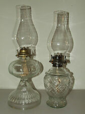 Vintage Pair of Victorian Clear Glass Oil Lamps, Complete,Clean, Excellent Cond.