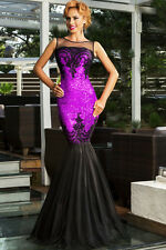 Purple Sequin Applique Mermaid Evening Cocktail Prom Dress Size UK 12