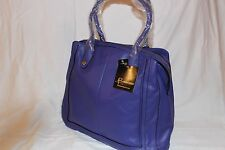 B. Makowsky Glove Leather ZipTop Magazine Tote Handbag Purse - Royal Blue