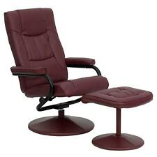 Flash Furniture Burgundy Leather Recliner and Ottoman with Leather Wrapped Base